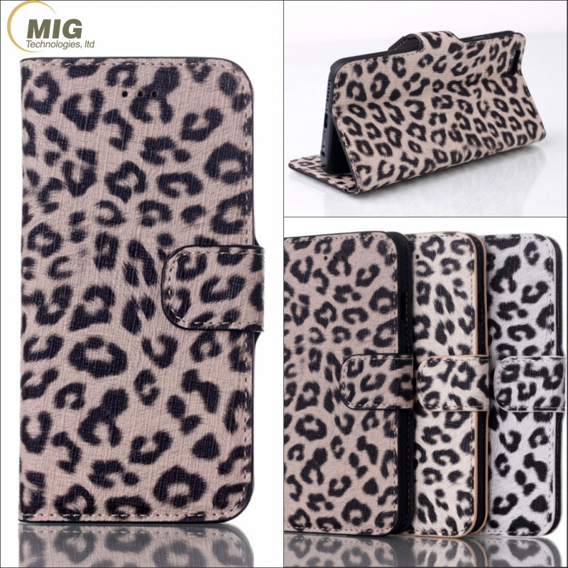 Leopard pattern leather Side Flip standing Case for iPhone 7 cell phone case with card plug-in