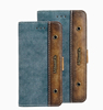 Denim mobile phone case with leather, Book case design card holder with frosted shell case for iphone6