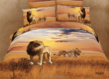 top new 100% polyster bedding sets luxury printing bedding set king size 3d animal lion Chinese bedding set high quality
