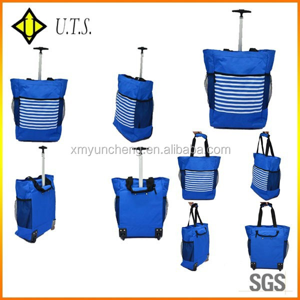 blue handle wheeled shopping bag for shopping trolley bag