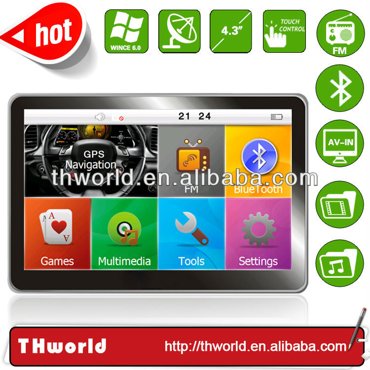 4.3 inch voice navigation model no.V12 with bluetooth AV-IN 4GB only $32.00/PC