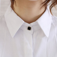 sweet office lady blue white one button shirt