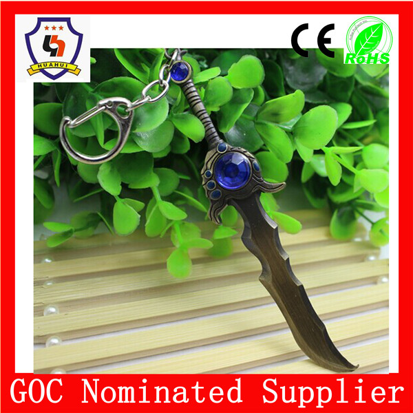 LOL toy weapons keychain/ sword key chian with big blue rhinestone/ metal ancient sword key ring for sale (HH-key chain-960)