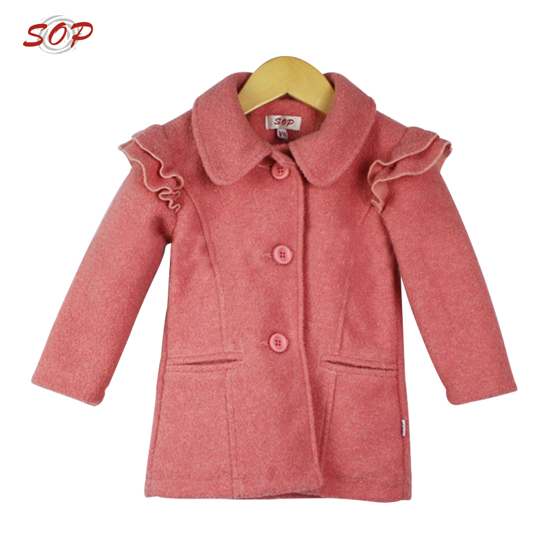 Ruffle kids clothes jacket outwear professional garments manufacturer children winter tops girls coats
