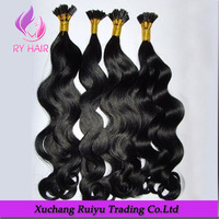 High quality virgin remy peruvian i tip human weave wavy hair extension