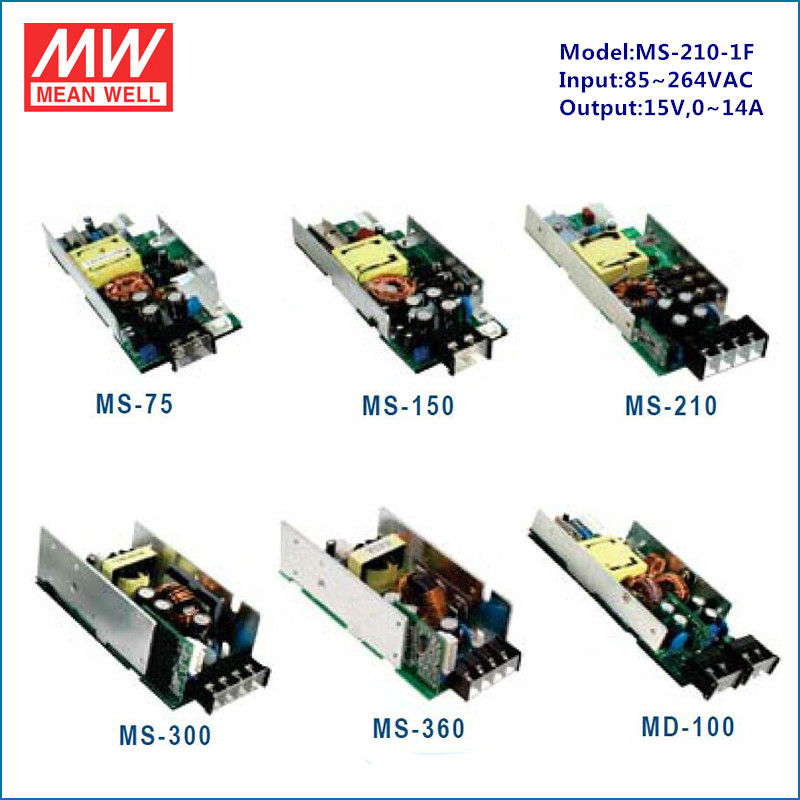 Meanwell power modular paralleble single output MS-210-1F 210W 220v 15v power transformer