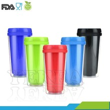 450ML Double wall plastic coffee mug with paper insert