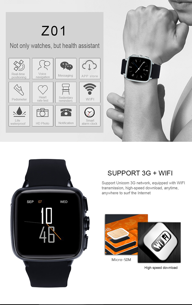 2017 Shenzhen wifi 3g sim card android wear phone smartwatch with front facing camera