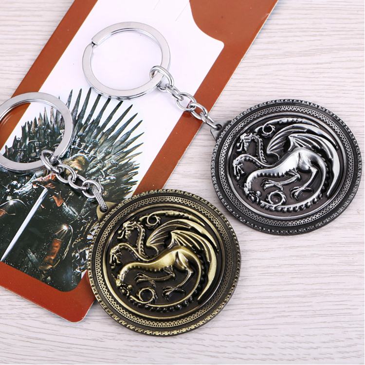 Promotional gifts metal antique 3d alloy dragon keychain for the Game of Thrones