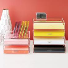 Custom clear acrylic paper drawers stationery holder desk organizer