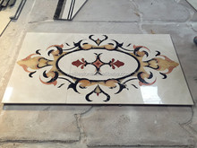 Rectangle shape waterjet marble dining table