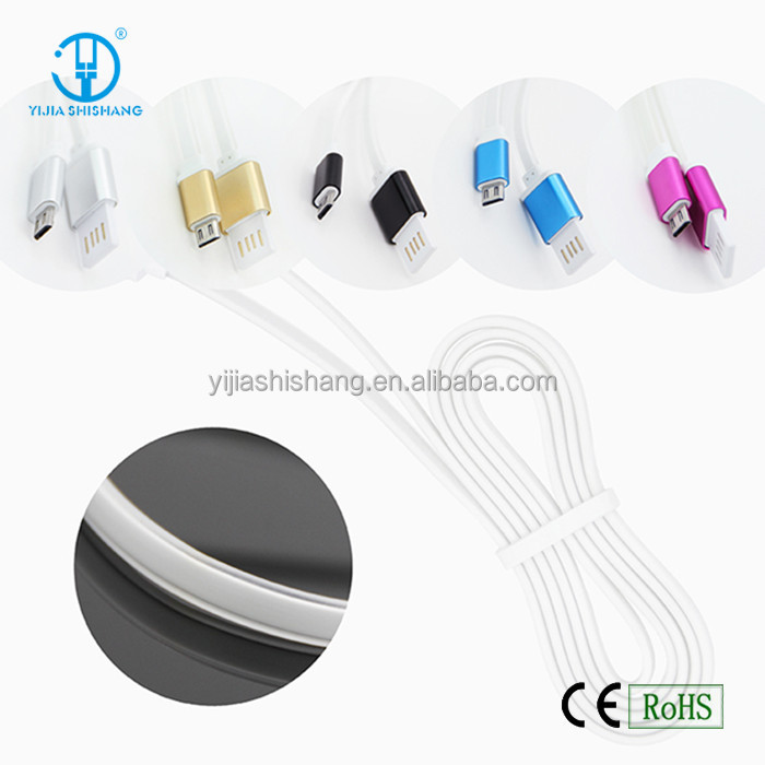 Aluminum jelly flat cable micro usb cable noodles mini usb laptop charger cable for Mobile Phone