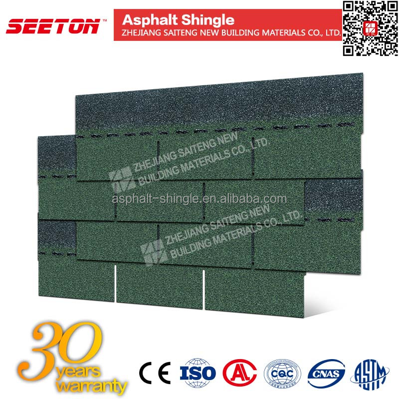 Asian Green 3 Tab Single Layer Aspahlt Roofng Shingles