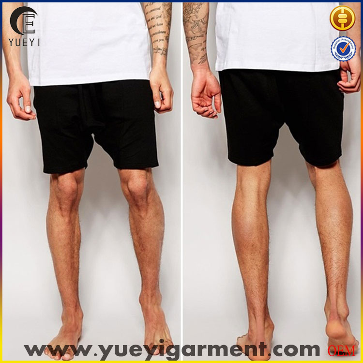 casual men fleece boxer shorts black private label in drop crotch mid length