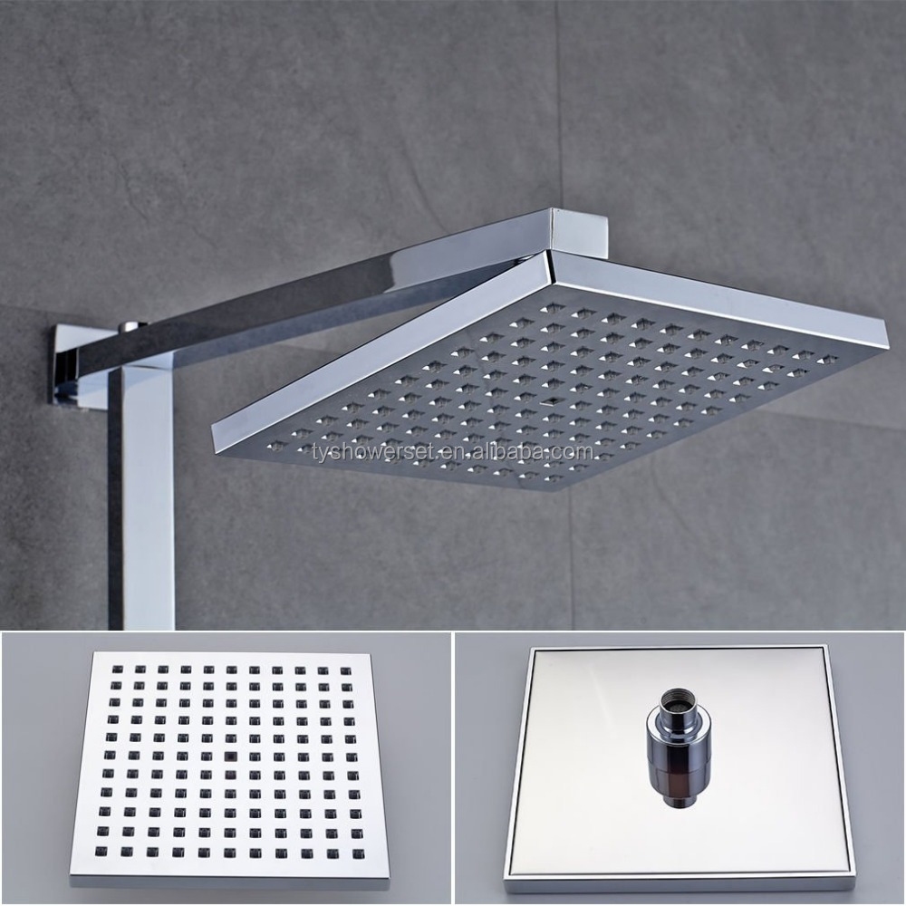8 Inch Square Overhead Shower Head, ABS 1/2 Connector Rainfall Bath Shower Spray for Bathroom, Chrome
