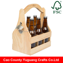 Yuguang Crafts Handmade Wooden Carrying Beer Bottle Caddy