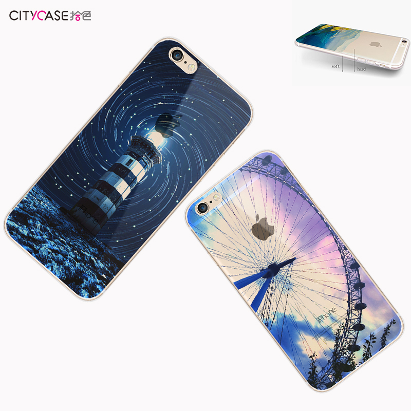 city&case 2017 Ultrathin Color Printing TPU Acrylic Mobile Back Cover for iPhone6 6plus 7 7plus
