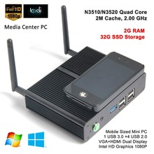 Mini pc case slim case with intel processor 2.0GHz,mini pc with rca output dual display support Linux