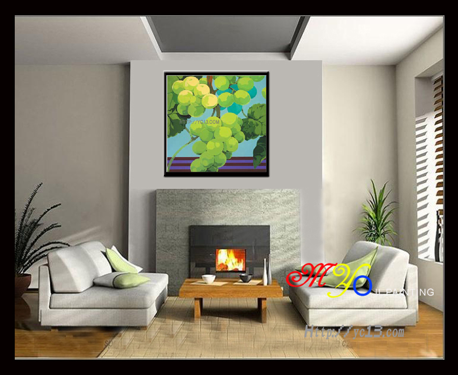 art and craft wall picture green grapes home decor handmade art painting GZ-205