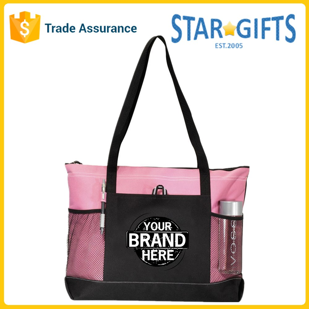 Wholesale Printed Girls Women 600D Oxford Picnics Peony Pink Polyester Tote Bags For Promotion