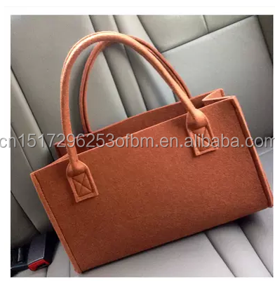 daily new fashion women wool felt bag custom design shopping case handbag leather handle big space shoulder storage bag