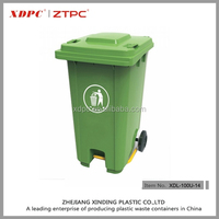 Plastic two wheels waste bin of 100L with foot pedal