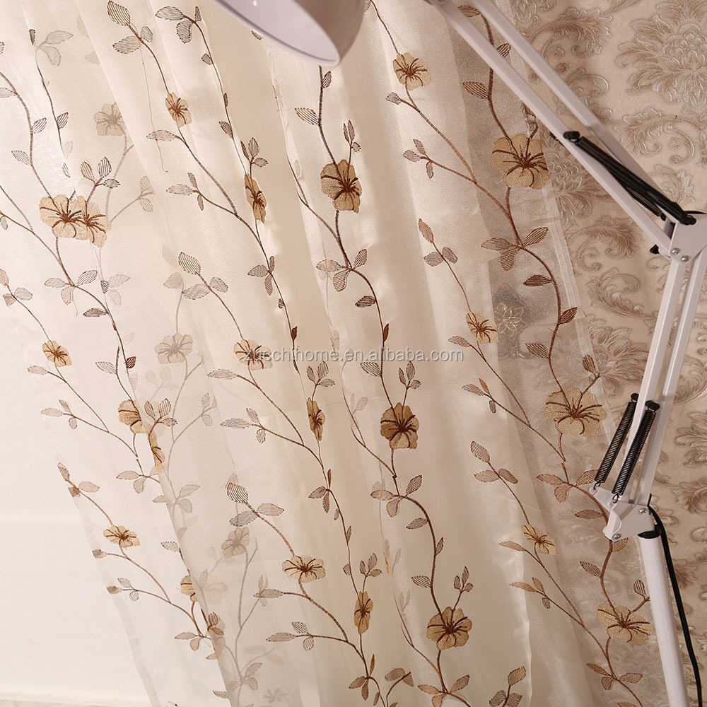 European Modern Floral Embroidered Sheer Voile Curtain Fabric For Living Room