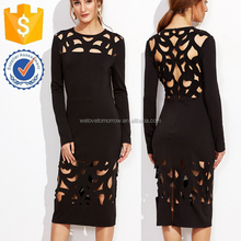 Black Cut OUt Round Neck Plain Slim Tight Sexy Club Midi Dresses For Women Manufacture Wholesale Fashion Women Apparel (TF1235D)