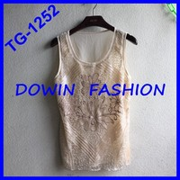 2015 latest design sequins tank top OEM wholesale manufacturer sequins tank tops for women