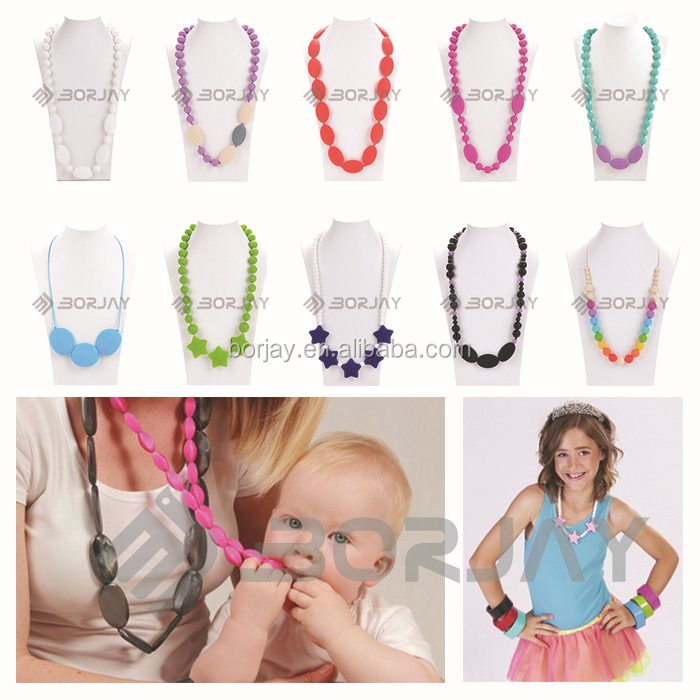 High Quality Handmade Food Grade Silicone Mom Necklace For Baby Teething
