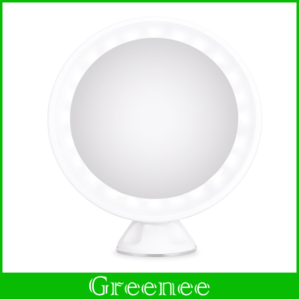 LED Makeup Vanity Mirror with Locking Suction Cup + 360 Degrees Rotating + USB Charge for Makeup, Dressing & Traveling