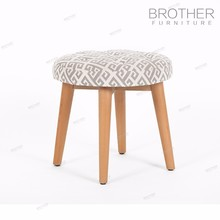 Protable uplostery pouf ottoman round wooden low stool with fabric cushion