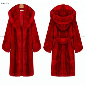 China Red Women Long Faux Fur Coat With Fur Trim and Hat