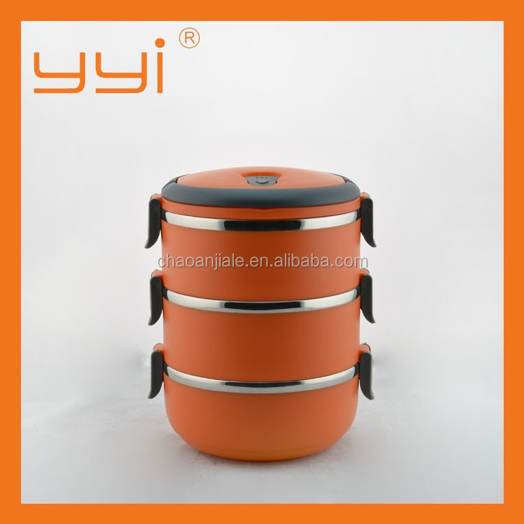 Hot-sale used insulated food carrier 1/2/3/4 layer round Stainless steel & plastic cover lunch box