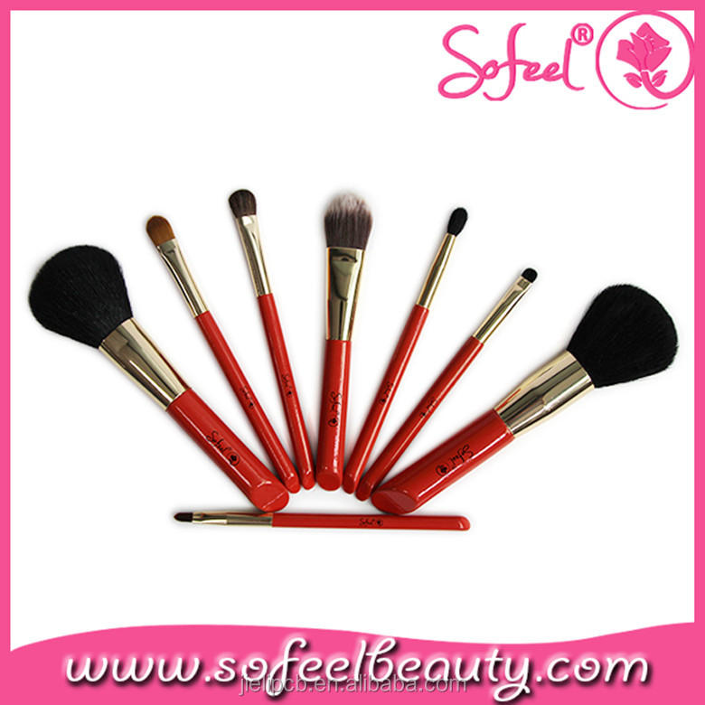 Sofeel customized essential makeup 8pcs cosmetic brush sets factory