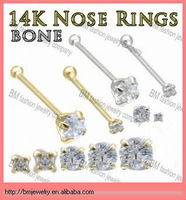 14K gold nose stud bone ring body piercing jewelry
