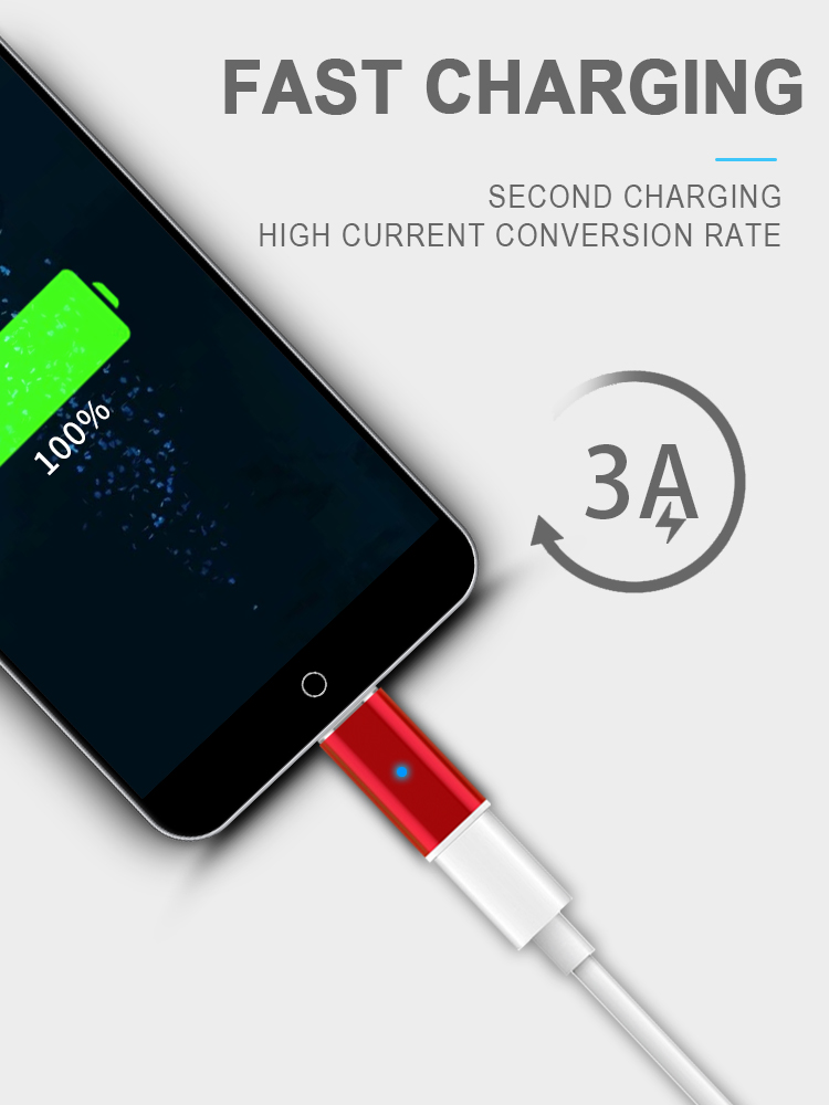 Newest design magnetic metal Charging Adapter inductive charging adapter micro usb charging data cable adapter