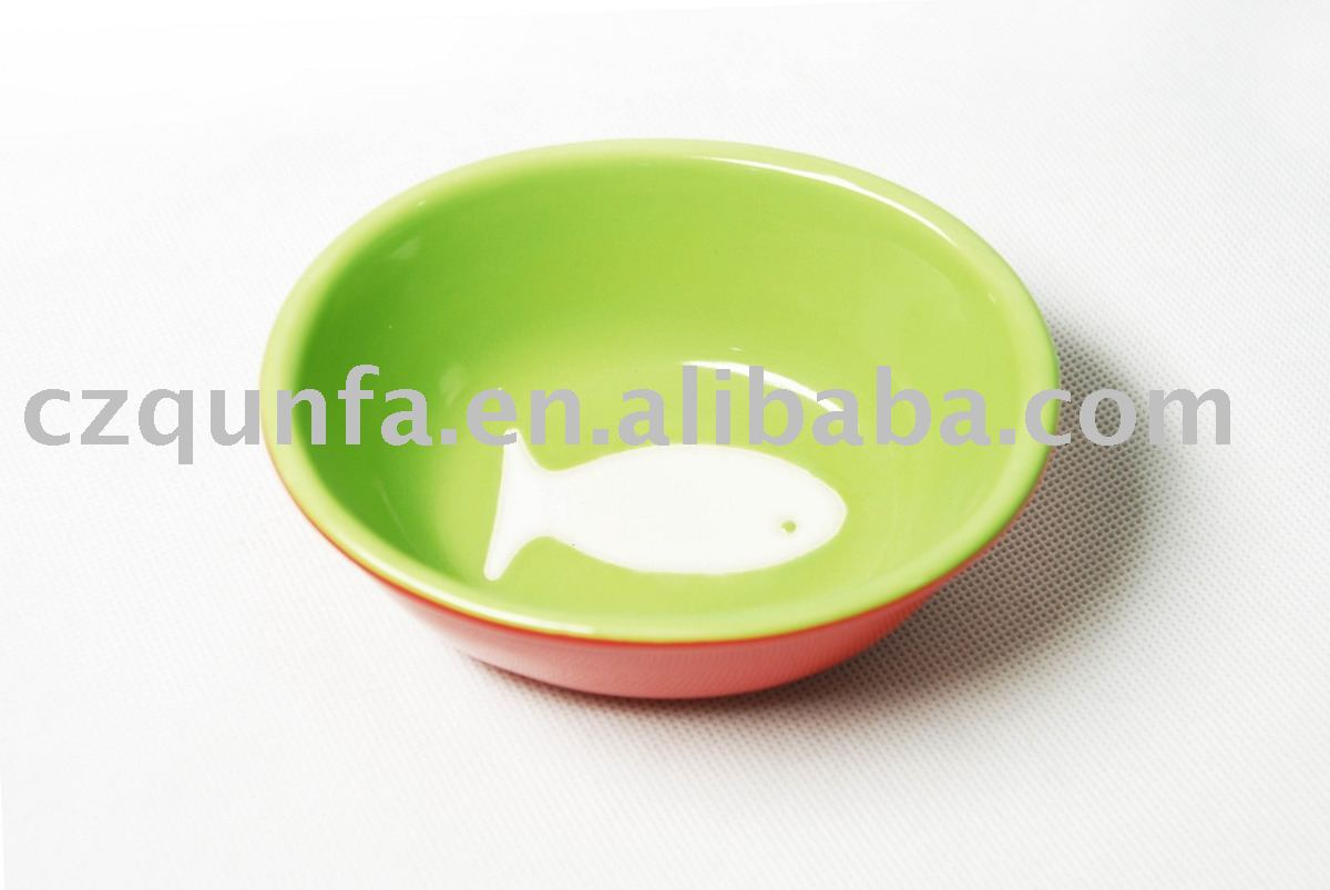 Ceramic stoneware pet bowl dog bowl cat bowl 2tone colors with fish logo pet bowl-AL125