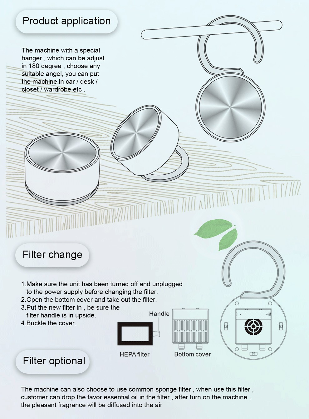 wall mounted negative ion air purifiers with HEPA filters remove pm2.5