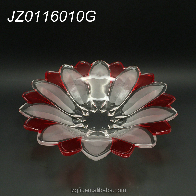 33cm 20cm Elegant customized color flower shaped glass fruit plate, clear glass fruit plate for home&restaurant decoration
