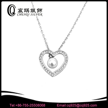 freshwater pearl with cz heart shaped 925 silver necklace jewelry