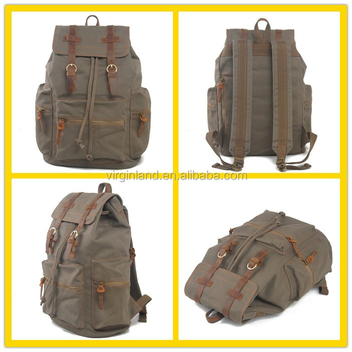 1039s Small Quantity Vintage Army Green Canvas Casual Backpack with Custom Logo