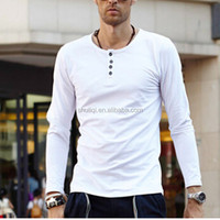 men fashion sexy slim fit plain long sleeve round neck t shirt with buttons decoration