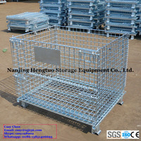 Hengtuo Heavy Duty Galvanized Folding & Stackable Steel Wire Mesh Pallet Stillages