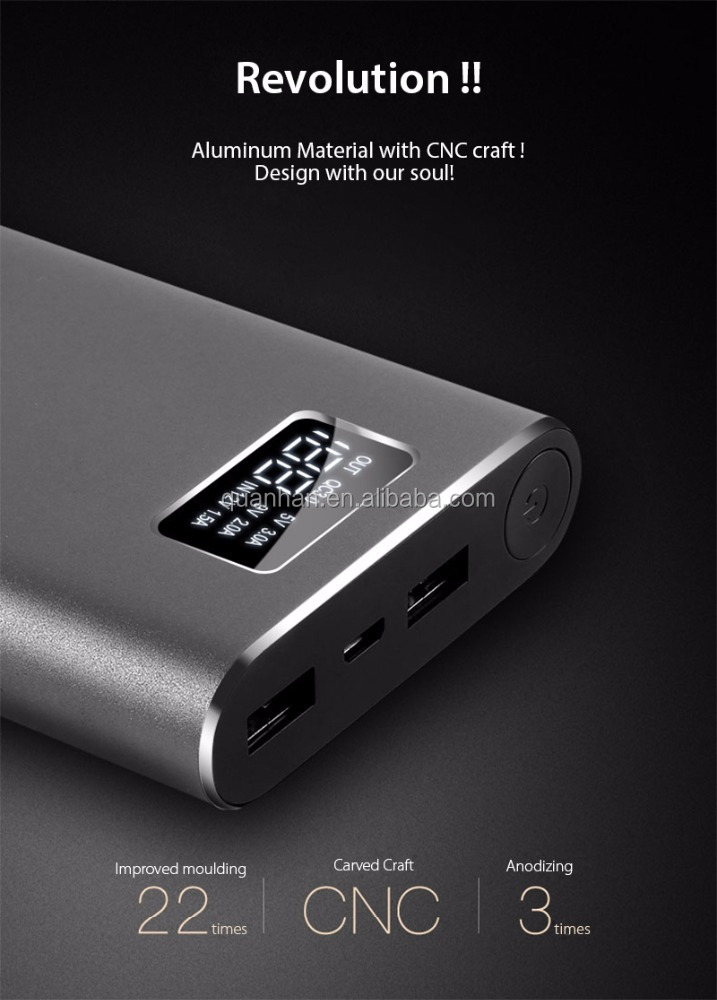 20000mAh Aluminium universal power bank for smartphone