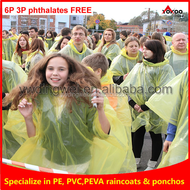 PE eco-friendly disposable outdoor rain poncho raincoat with logo printing