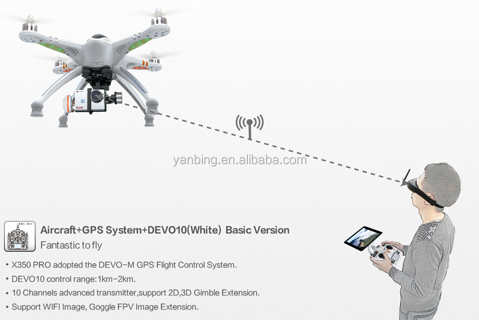 Walkera QR X350Pro 5.8GHz GPS RC FPV quadcopter drone with 6CH DEVO F7 Transmitter with HD camera