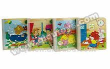 Baby Wooden Cartoon Story Wisdom Puzzle Book Learning Toys