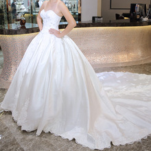 Strapless Heavy Hand Made Beaded Satin Wedding Dress Bridal Gown with Long Train