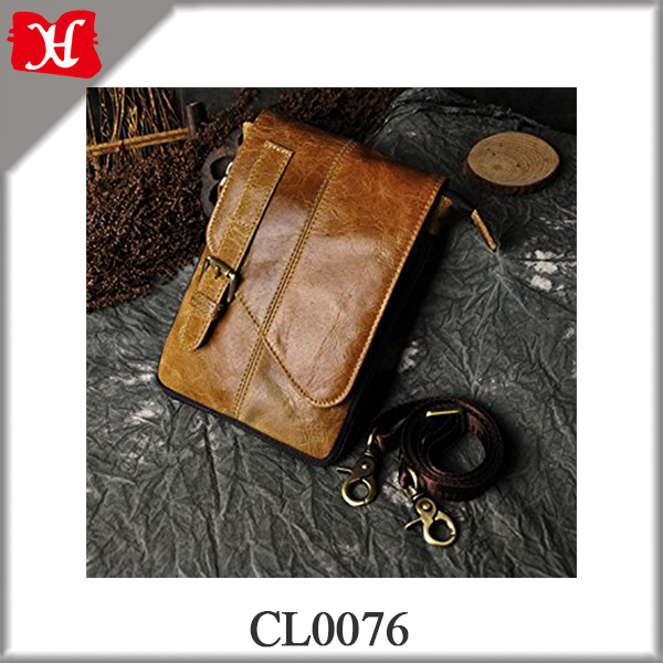 Classic Genuine Leather Small Messenger Shoulder Satchel Waist Bag Pack Hip Belt Bag Bumbag